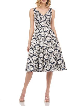 Kay Unger New York Gia Sleeveless Printed Jacquard Dress