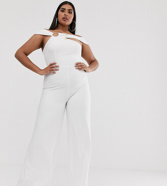 Club L London Plus jumpsuit with hardware back detail in white