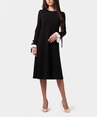 LADA LUCCI Women's Career Dresses Black - Black & Milky Ruffle Bow-Contrast A-Line Dress - Women & Plus