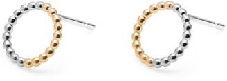 Myia Bonner Two Tone Mini Circle Sphere Stud Earrings 9K Yellow Gold & Silver