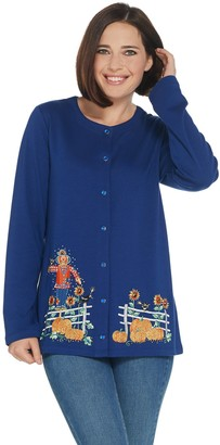 Factory Quacker Snap Button Front Knit Cardigan with Fall Motif