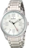 Peugeot 1026S Men's Silver-tone Carbon Fiber Cutout Dial Watch