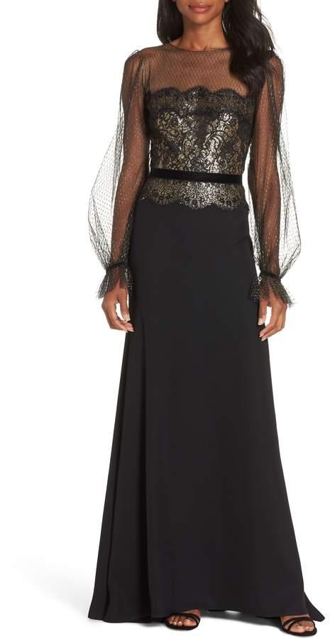 Tadashi Shoji Crepe & Sequin Gown