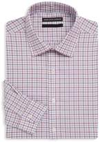Saks Fifth Avenue BLACK Men's Checkered Cotton Dress Shirt - Red-blue, Size 16.5 32