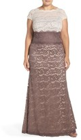 Adrianna Papell Plus Size Women's Colorblock Lace Gown