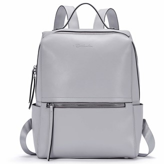 BOSTANTEN Genuine Leather Backpack Purse Fashion Casual College Travel Handbag for Women Grey