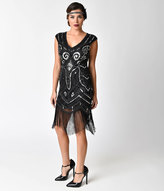 Unique Vintage Vintage Style Black & Silver Sequin Cap Sleeve Fringe Flapper Dress