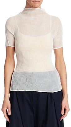Issey Miyake Chiffon Twist Short Sleeve Top