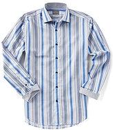 Thomas Dean Big & Tall Multi-Stripe Long-Sleeve Woven Shirt