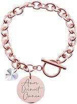 Swarovski Pink Box Women's Bracelets Rose - Rose Goldtone 'Amor Vincit Omnia' Circle Charm Bracelet With Crystals