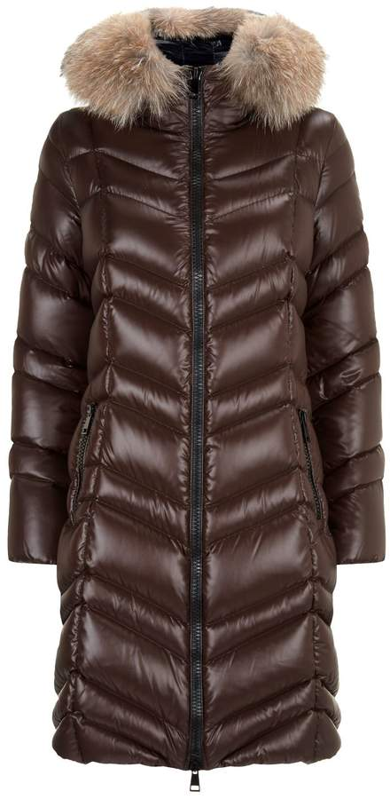 Moncler Fulmar Fox Fur Trim Coat