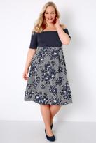 Yours Clothing White, Navy & Yellow Floral & Stripe Bardot Skater Midi Dress