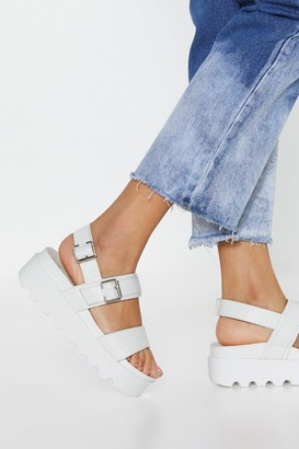 Nasty Gal Womens Work Your Way Up Faux Leather Platform Sandals - White - 3