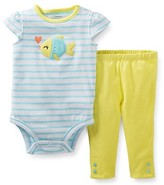 Carter's Baby Clothing Outfit Girls' 2 Piece Striped Bodysuit and Pants- Fish - 6 Months