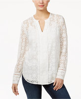 NYDJ Split-Neck Lace Blouse