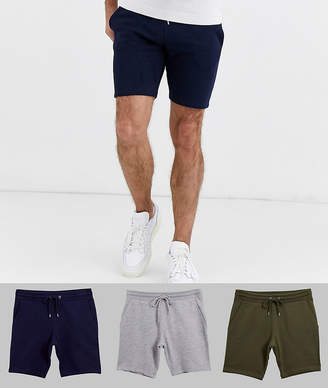 Asos Design DESIGN jersey skinny shorts 3 pack navy/green/grey marl-Multi