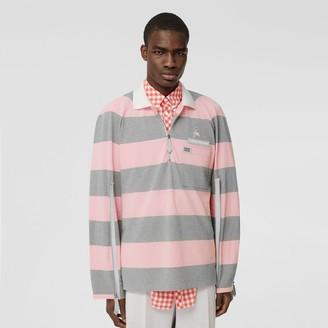Burberry Long-sleeve Zip Detail Striped Cotton Polo Shirt
