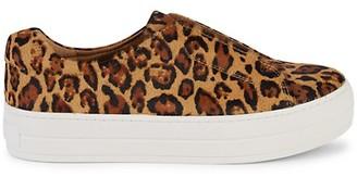 J/Slides Heidi Leopard-Print Calf Hair Slip-On Sneakers