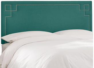 One Kings Lane Aiden Headboard - Teal Linen - upholstery, teal; nailheads, pewter