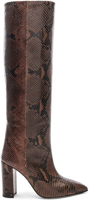 Paris Texas Knee High Python Print Boot in Dark Brown | FWRD