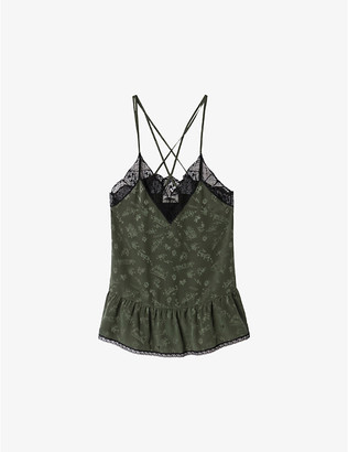Zadig & Voltaire Celest lace-trimmed silk cami top