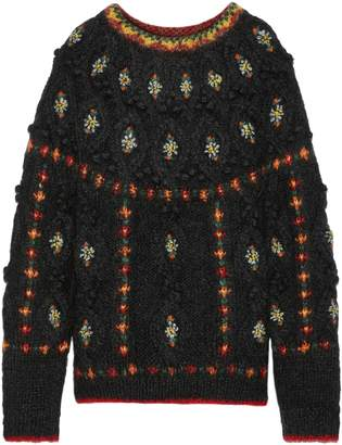 Mes Demoiselles Cheerleader Embroidered Cable-knit Mohair-blend Sweater