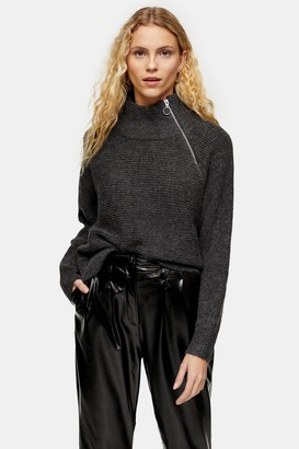Topshop Womens Charcoal Grey Knitted Zip Side Funnel Neck Jumper - Charcoal