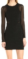 GUESS Black Women's Size 2 Ribbed Mesh Crewneck Sheath Dress