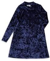 Emerald Sundae Girl's Velvet Mockneck Shift Dress