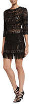 Naeem Khan Suede Fringe-Skirt Cocktail Dress, Black