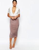 Club L Crochet Detail Midi Dress with Slinky Ruched Midi Skirt