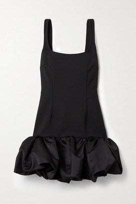 Area Ruffled Satin-trimmed Woven Mini Dress - Black