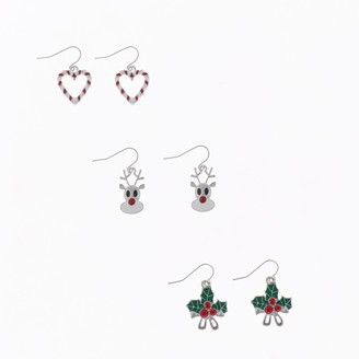 Holiday Heart, Reindeer & Mistletoe Trio Nickel Free Drop Earrings Set