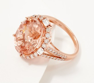 Morganite and Diamond 14K Gold Oval Cut Ring, 9.00 cttw