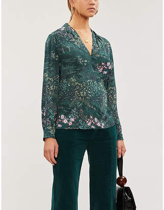 Ted Baker Floral-print crepe blouse