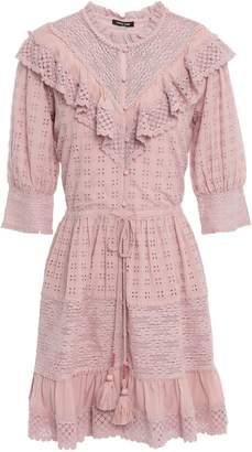 Love Sam Lace-paneled Ruffled Broderie Anglaise Mini Dress