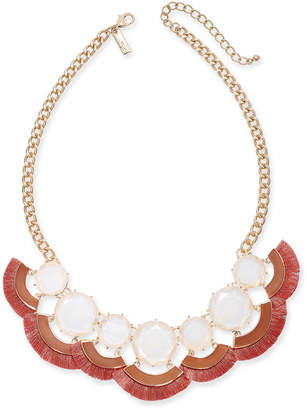 "INC International Concepts Inc Gold-Tone Stone & Tassel Fringe Statement Necklace, 18"" + 3"" extender"