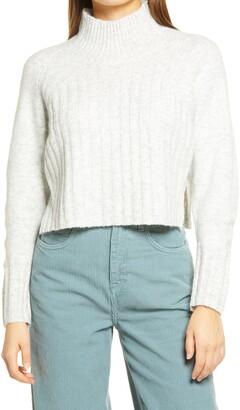Topshop Rib Crop Turtleneck Sweater