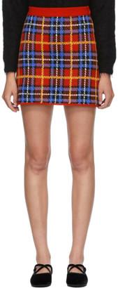 Miu Miu Red Wool Plaid Miniskirt