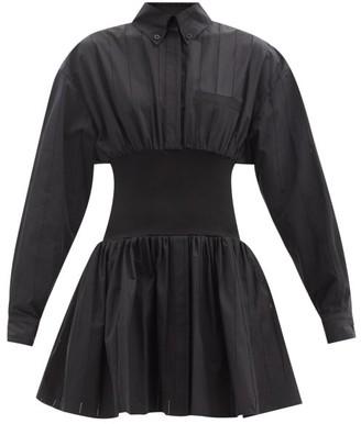 Alexandre Vauthier Elasticated-waist Cotton-poplin Mini Shirt Dress - Black