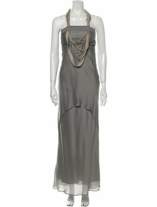 Brunello Cucinelli Silk Long Dress Grey