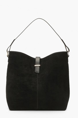 boohoo Croc Handle Suedette Structured Tote Day Bag