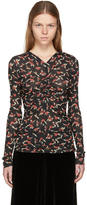 Isabel Marant Black Long Sleeve Floral Miston T-Shirt