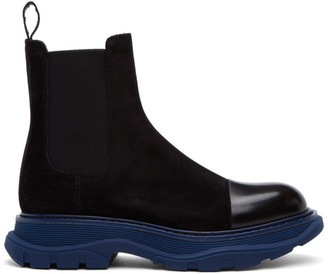 Alexander McQueen SSENSE Exclusive Black and Blue SuedeChelsea Boots