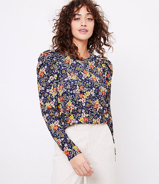 LOFT Floral Pleated Puff Sleeve Top