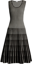 Tomas Maier Stripe-intarsia sleeveless A-line dress