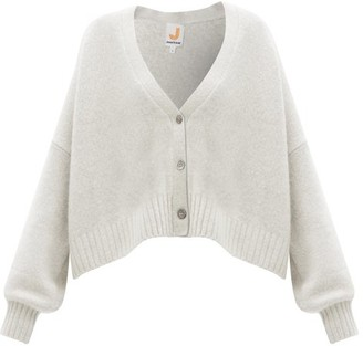 JoosTricot Smiley-embroidered Merino Wool-blend Cardigan - Light Grey