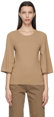 Lemaire Brown Crepe Jersey Three-Quarter Sleeve T-Shirt