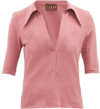 ALBUS LUMEN Point-collar Cotton-blend Terry Polo Shirt - Womens - Pink