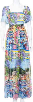 Dolce & Gabbana Multicolor Floral Printed Chiffon Smocked Detail Maxi Dress M